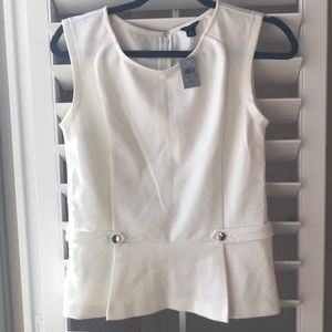 Ann Taylor Ponte side button peplum top in white